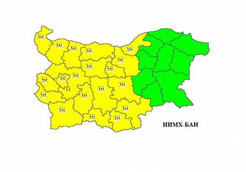 Жълт код заради обилни валежи в 19 области
